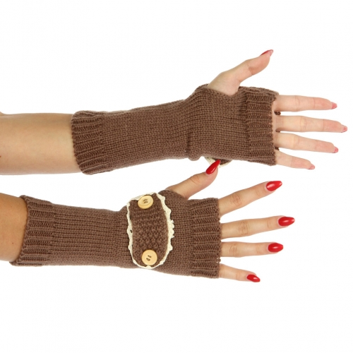 Wholesale R65 Knit button detail arm warmer Brown
