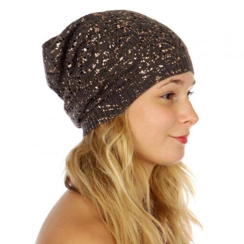 Wholesale W54 Metallic splatter open knit beanie Grey