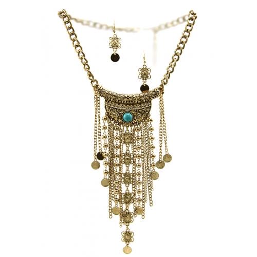 Wholesale L35 TQ accent metal drop necklace set
