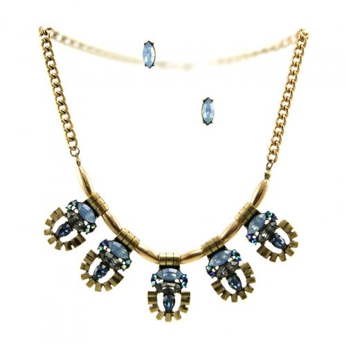 Wholesale L29 Colored stone metal necklace set RGMB