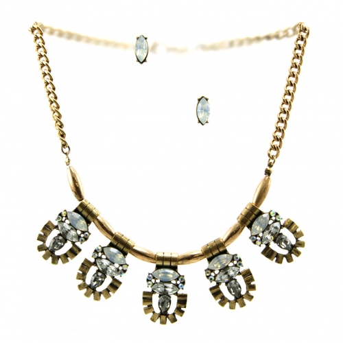 Wholesale L29 Colored stone metal necklace set RGWT