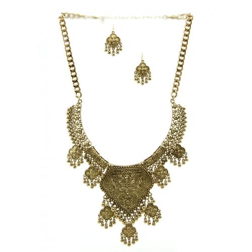 Wholesale L29 Quatrefoil metal necklace set AG