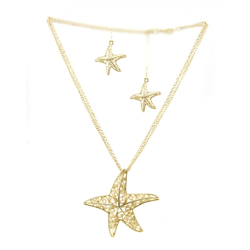 Wholesale L32 Cutout starfish necklace set G