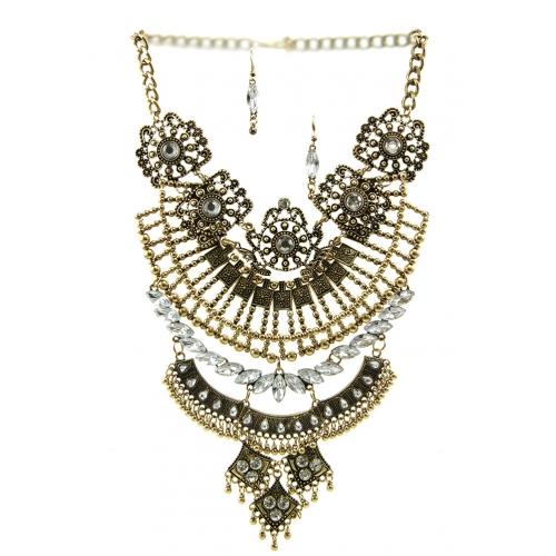 Wholesale L30 Faux crystal metal drop necklace set AG