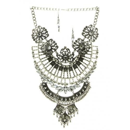 Wholesale L30 Faux crystal metal drop necklace set SB