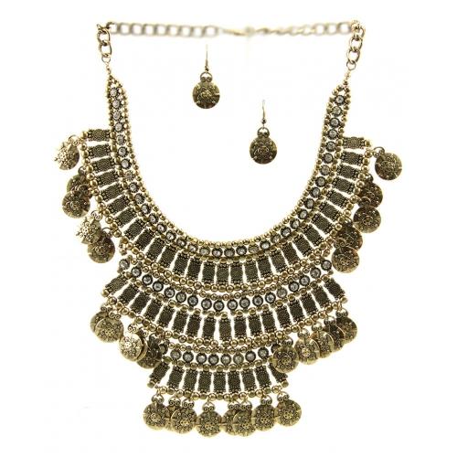 Wholesale L30 Tribal metal coin drop necklace set AG