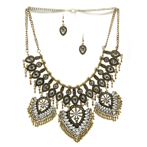 Wholesale L30 Stone and multi metal necklace set AG