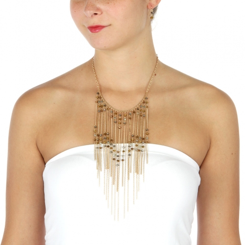 Wholesale L32 Beads and chains drop necklace set GBR