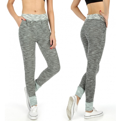 Wholesale K00 Two pockets marled jogger pants BK