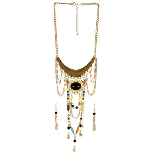 Wholesale L30 Multi stone metal chain necklace set GBK