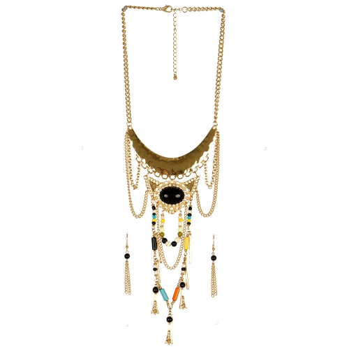 Wholesale L30 Multi stone metal chain necklace set GBK