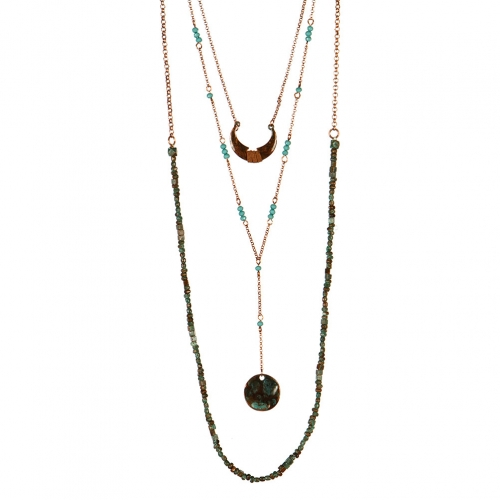 Wholesale L32 Layered crescent moon necklace OG