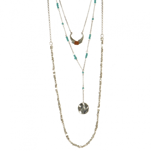 Wholesale L32 Layered crescent moon necklace SB