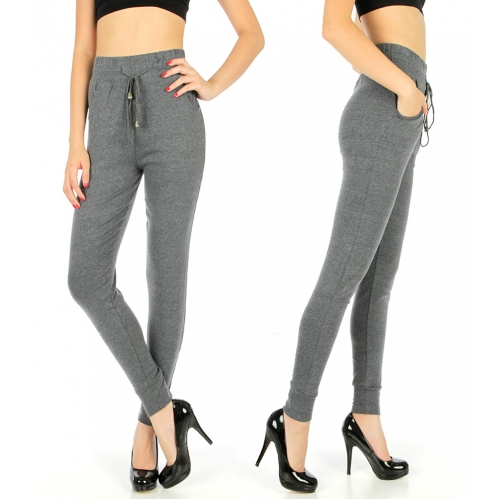 Wholesale B06 Solid jogger style leggings Charcoal