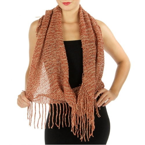 Wholesale R28 Marled fringe knit infinity scarf Orange