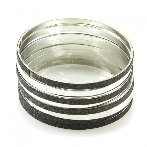 Wholesale L36 Diamond dusted mix bangle set BLACK