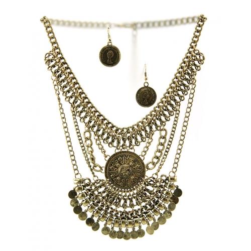 Wholesale L36 Tribal drop metal necklace set B.GOLD