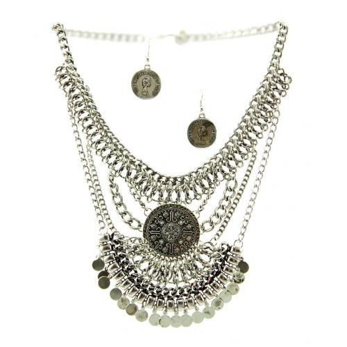 Wholesale L36 Tribal drop metal necklace set B.SILVER