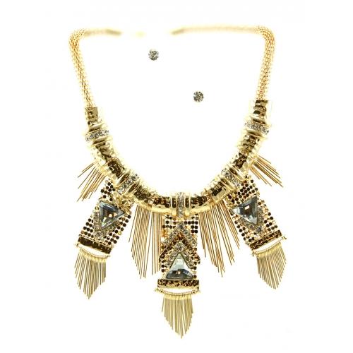 Wholesale L34C Multi stone and metal necklace set GDCL
