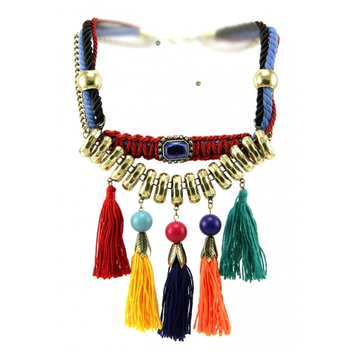 Wholesale L34D Multicolored tassel necklace set GBMT