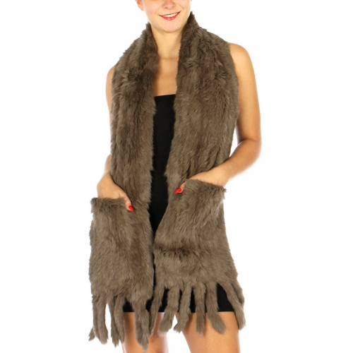 Wholesale N01 Long fur scarf with pockets D.Camel