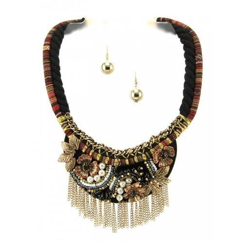 Wholesale L35A Embellished flower necklace set GBBR