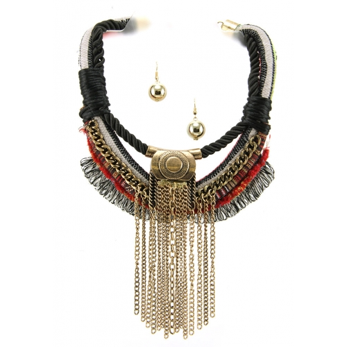 Wholesale L35A Intertwined fabric necklace set GBRD