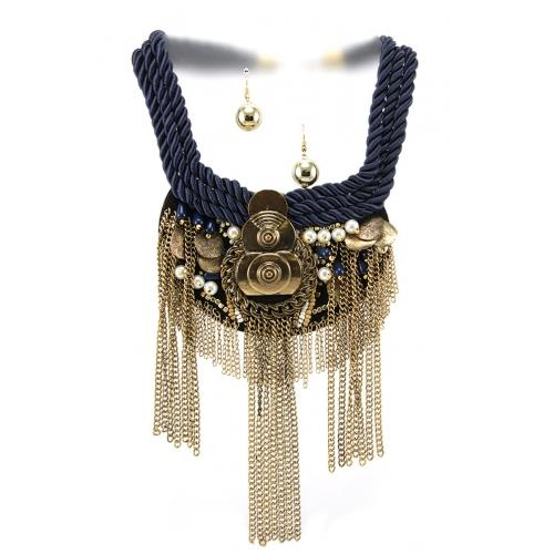 Wholesale L35A Tribal metal braid necklace set GBBL
