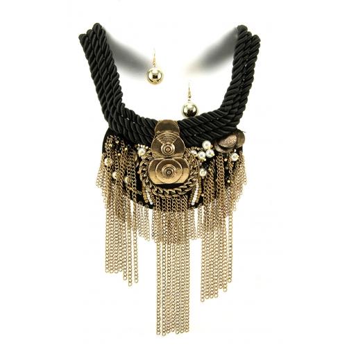 Wholesale L35A Tribal metal braid necklace set GBBK