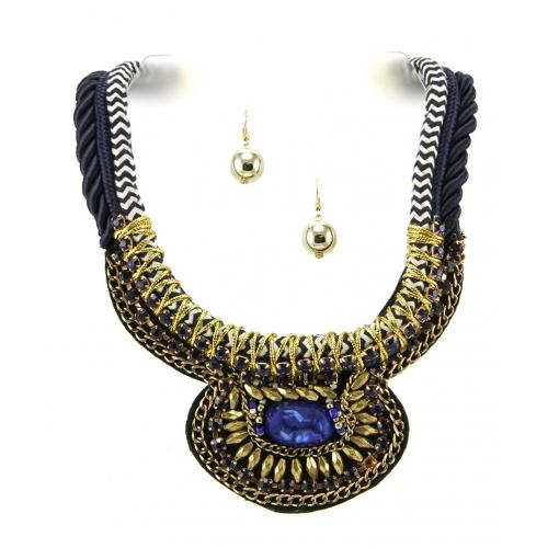 Wholesale L35A Stone accent fabric necklace set GBBL