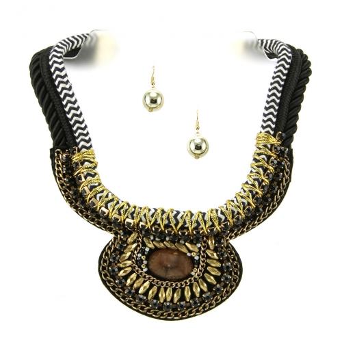 Wholesale L35A Stone accent fabric necklace set GBBR