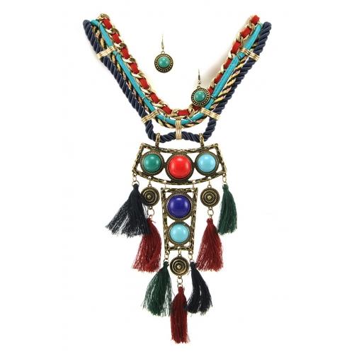 Wholesale L35C Tasseled stone necklace set RGMT