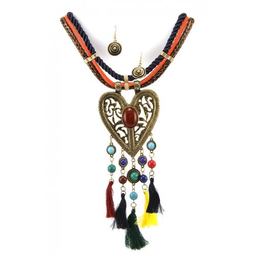 Wholesale L35C Cut out heart stone necklace set RGMT