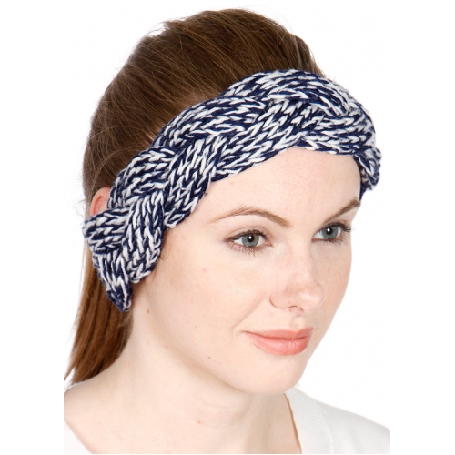 Wholesale S54 Two tone braided hand knit headband Grey
