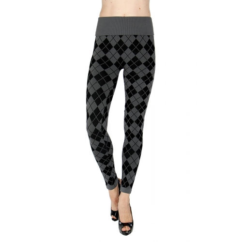 Wholesale H10 High waisted checkered jacquard fleece leggings