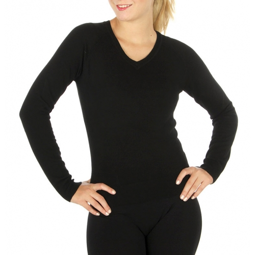 Wholesale G35 Long sleeve v neck cotton sweater Black
