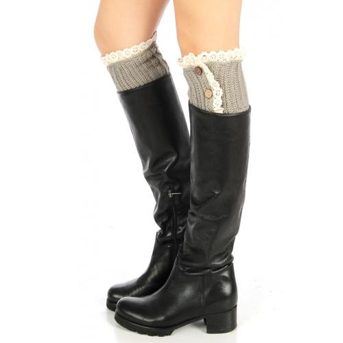 Wholesale N40 Crochet trim knit boot cuff Grey