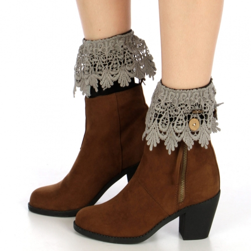 Wholesale N38 Buttoned crochet boot cuff Grey