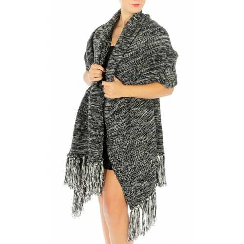 Wholesale T03 Oversized marled tassel knit scarf Black