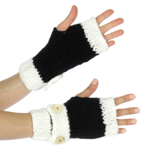 Wholesale S50 Handmade half finger mittens Black