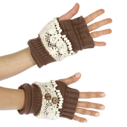 Wholesale T03 Knit and crochet half cut mittens BR/WT