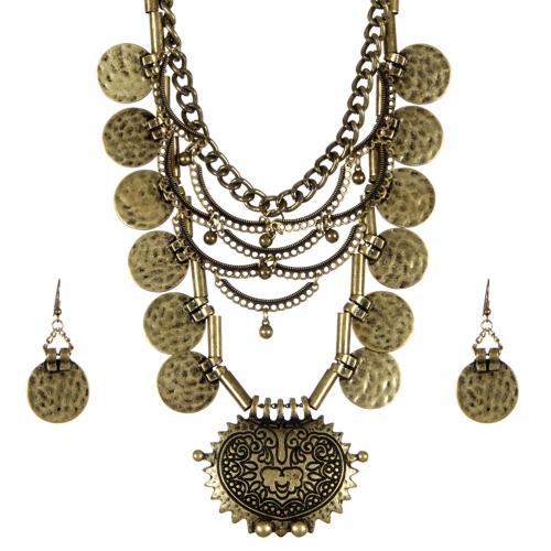 Wholesale L34D Hammered metal drop necklace set GB