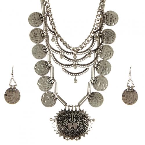 Wholesale L34D Hammered metal drop necklace set SB