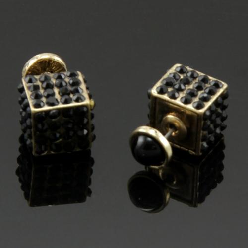 Wholesale L25D Studded cube studs B.GOLD fashionunic