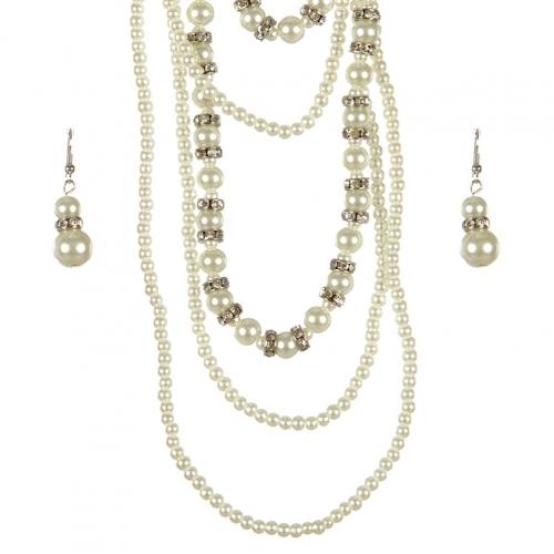 Wholesale L25E Layered faux mini pearl necklace set RH