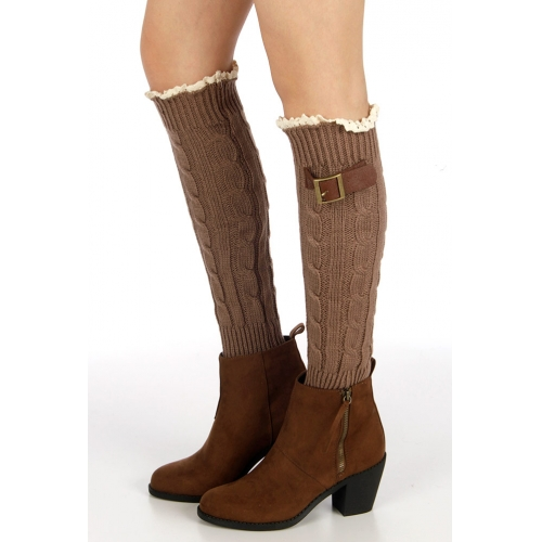 Wholesale P27 Embellished cable knit leg warmers BR