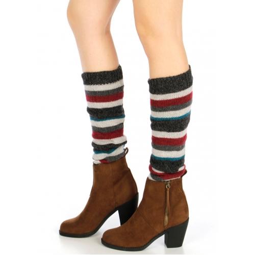 Wholesale T09 Multicolored striped leg warmer Black