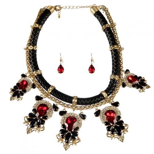 Wholesale L25E Faux leather stones necklace set GDRD