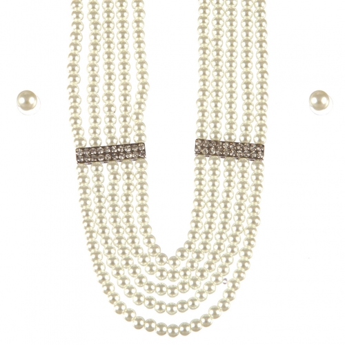 Wholesale L25D Multi layered pearl necklace set RH