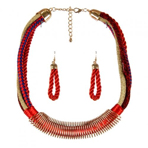 Wholesale L23E Multi fabric metal necklace set GDRD
